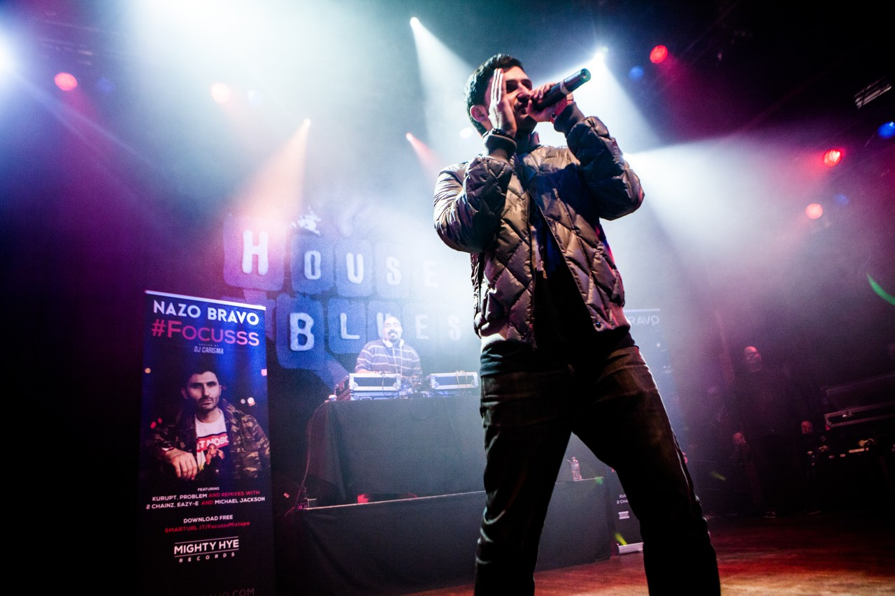 Nazo Bravo performing at House of Blues in Los Angeles, California. Photo by Adam Hendershott / Mighty Hye Entertainment.