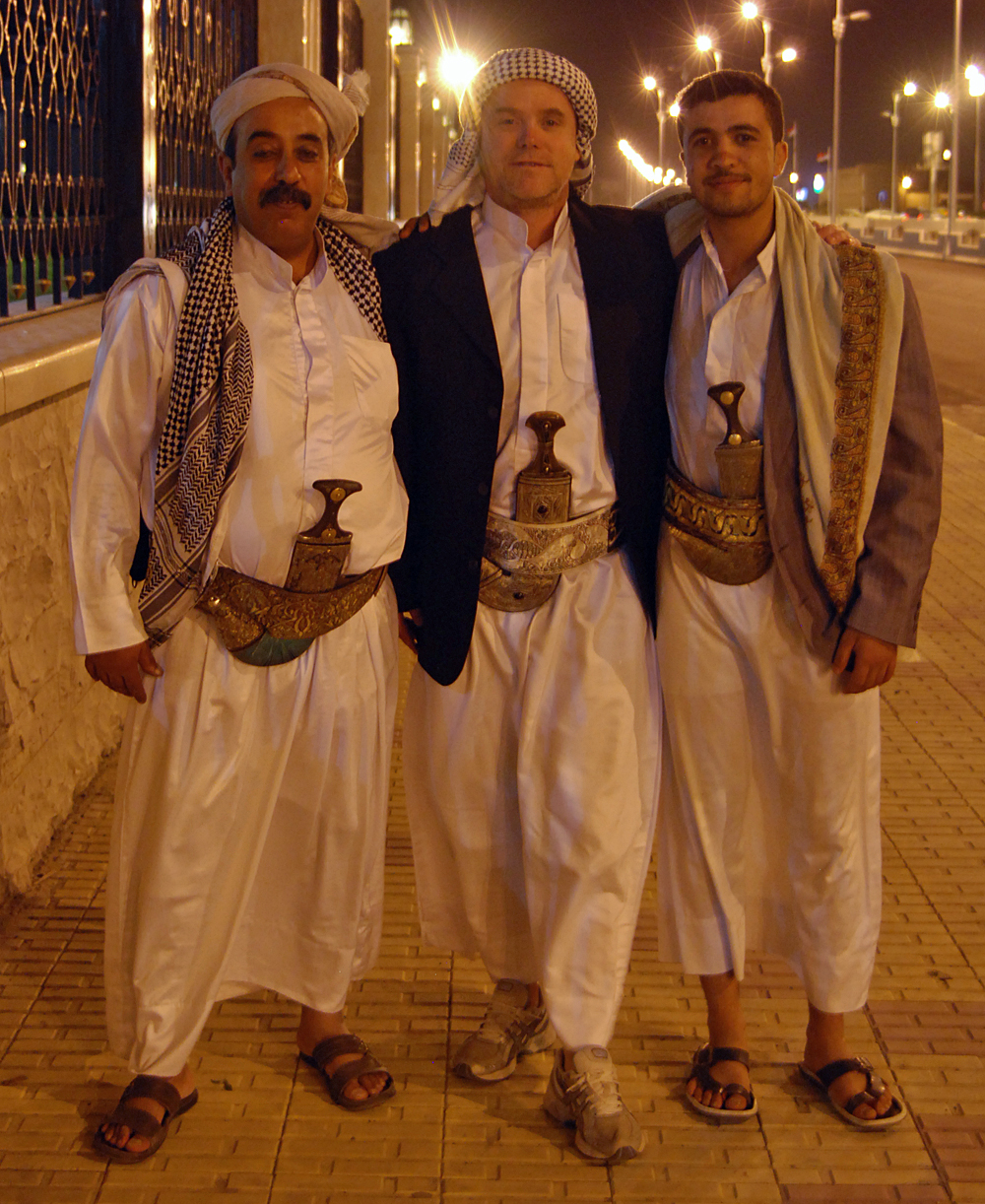 Hussein, Ahmed Al-Hamdani and Mohammed outside the presidents mosque...