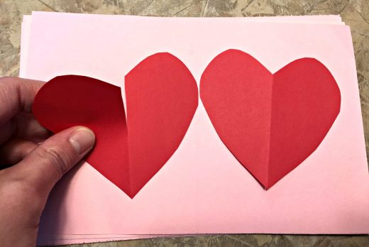 Kids' Valentine heart with a cut