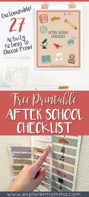 After school checklist pin