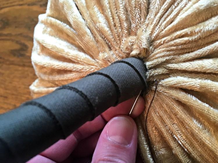 Easy DIY Pumpkin decor sew stem to pumpkin