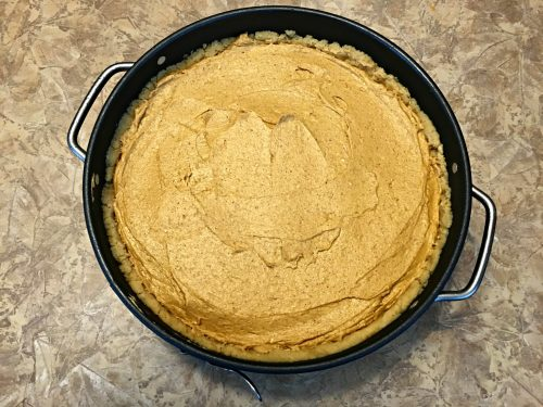 No-bake pumpkin spice cheesecake, overhead without topping