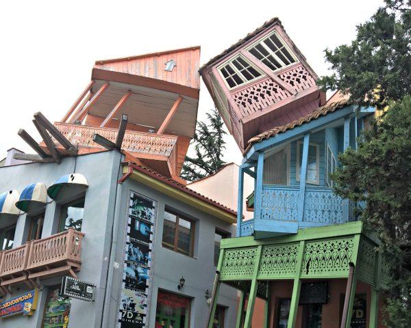 Tbilisi Mtatsminda Amusement Park leaning houses