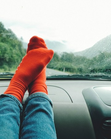 Road trip activities, in the car with feet on the dash