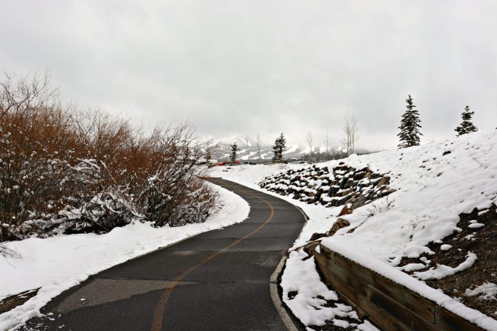 Breckenridge bicycle path with snow
