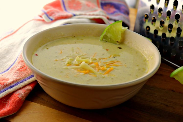 Green chili chicken chowder closeup