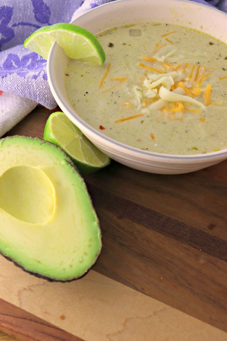 Green chili chicken chowder vertical with avocado