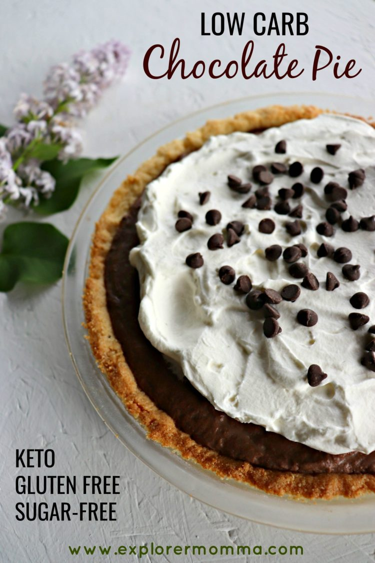 Low carb chocolate pie, closeup, pin