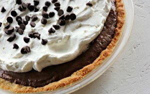 Whole low carb chocolate pie, closeup feature