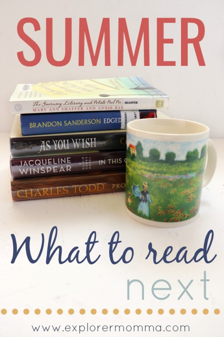 Summer what to read next pin with books and Monet mug