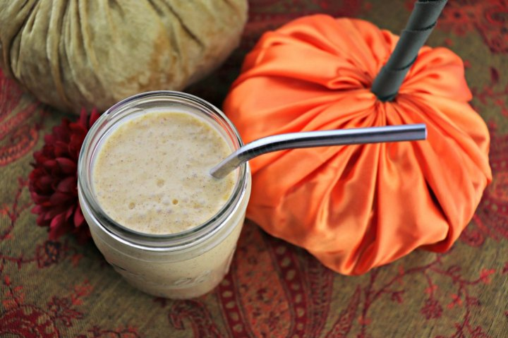 Keto pumpkin spice breakfast smoothie overhead close-up