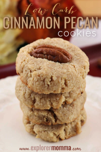 Quick and easy low carb cinnamon pecan cookies are the perfect keto snack! Grab tea and a gluten-free cookie, yum! #glutenfreecookies #ketosnacks #lowcarbcookies #cinnamonpecan #explorermomma