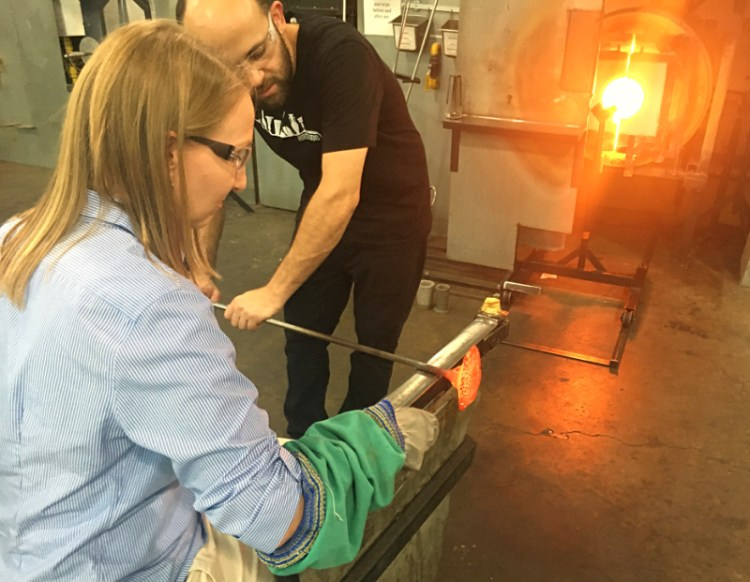 Lauren makes a glass flower at Corning Museum of Glass #myflxtbex #glassart