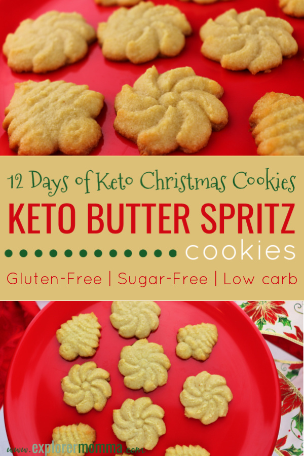 Keto Butter Spritz cookies are the perfect low carb Christmas recipe. Kid-friendly and super-easy for family baking. Keto recipe perfect for your keto plan. #ketorecipes #lowcarbcookies