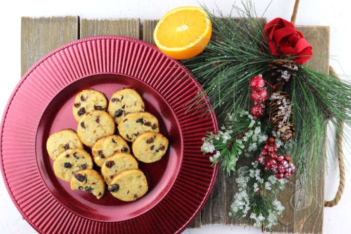 Keto cranberry orange shortbread cookies are fabulous and easy. Slice and bake low carb beauties can be baked off whenever you need them. #lowcarbcookies #ketodesserts