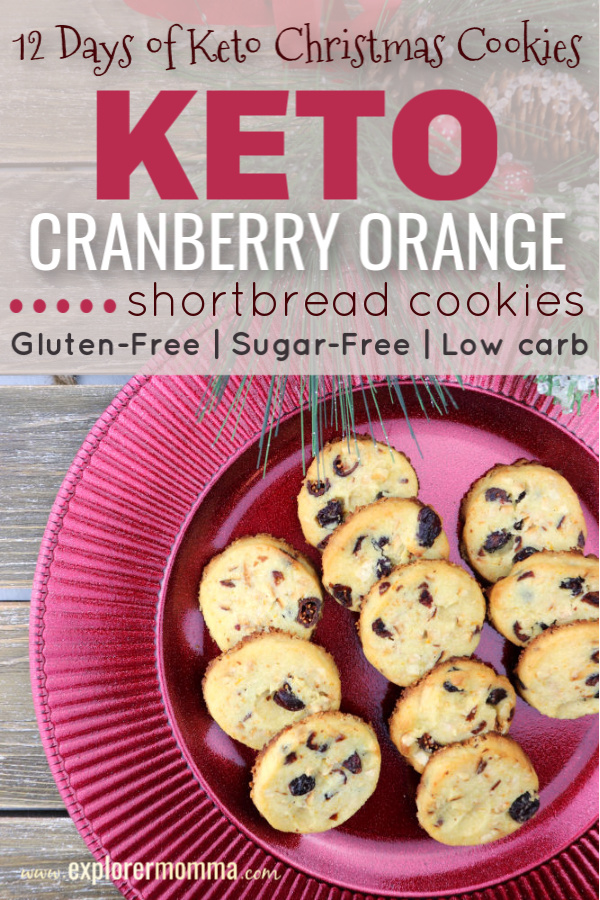 Keto cranberry orange shortbread cookies are the perfect low carb, sugar-free holiday treat! Gluten-free with almond and coconut flours and packed with flavor these Christmas cookies disappear quickly! #lowcarbcookies #ketorecipes