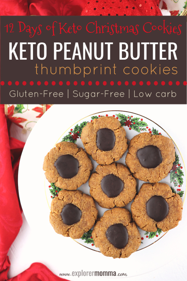 Thumbprint Keto Peanut Butter Cookies are the ultimate in Christmas cookies. Rich chocolate and peanut butter in a healthier keto diet version. Low carb, sugar-free, and gluten-free holiday cookies. #glutenfreecookies #ketorecipes
