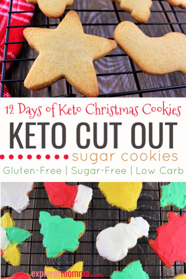 Keto cut out sugar cookies are delicious, buttery, goodness. A great low carb recipe for Christmas family time. #ketocookies #lowcarbrecipes