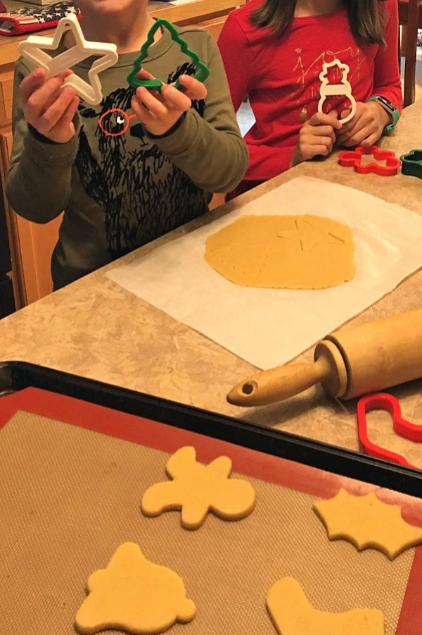 Kids making keto cut out sugar cookies. #kidsbake #ketocookies
