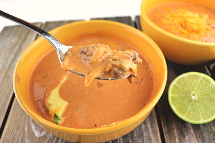 A spoonful of keto taco soup. Easy, kid-friendly, low carb recipe. Perfect for gluten-free diets and a healthier option. #ketosoup #ketorecipes