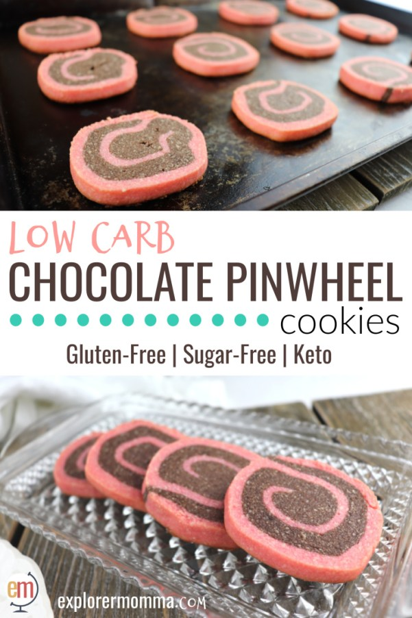 Low carb chocolate pinwheel cookies have the perfect tea cookie snap and are ideal for Valentine's Day, Christmas, or any day! If you want a gluten-free, sugar-free cookie that tastes amazing, these are for you! #lowcarbvalentine #lowcarbcookies