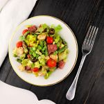 Keto Antipasto Salad with fresh veggies, mozzarella, and sausage is the perfect low carb lunch or addition to any picnic or party. #ketosalad #lowcarbsalad