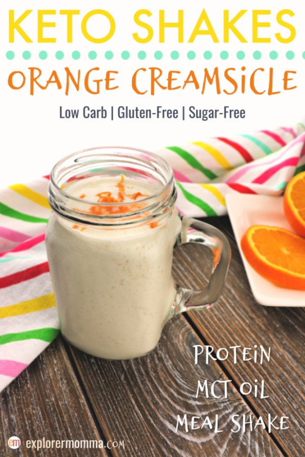 Orange creamsicle keto shakes make fabulous low carb high fat meals on the go. Quick and easy this sugar-free, protein shake has collagen peptides and MCT oil. #ketorecipes #ketobreakfast