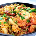 Fabulous one-pot meal, keto jambalaya is not only low carb but delicious and gluten-free. A traditional family southern dinner. #ketojambalaya #ketodinners
