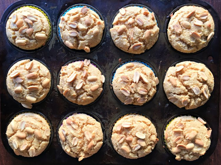 Pan of low carb peanut butter muffins #ketomuffins #lowcarbmuffins