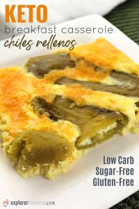 Chiles rellenos keto breakfast casserole is a delight to the tastebuds! Cheesy low carb, gluten-free stuffed green chiles in a breakfast egg custard. #ketobreakfast #ketorecipes