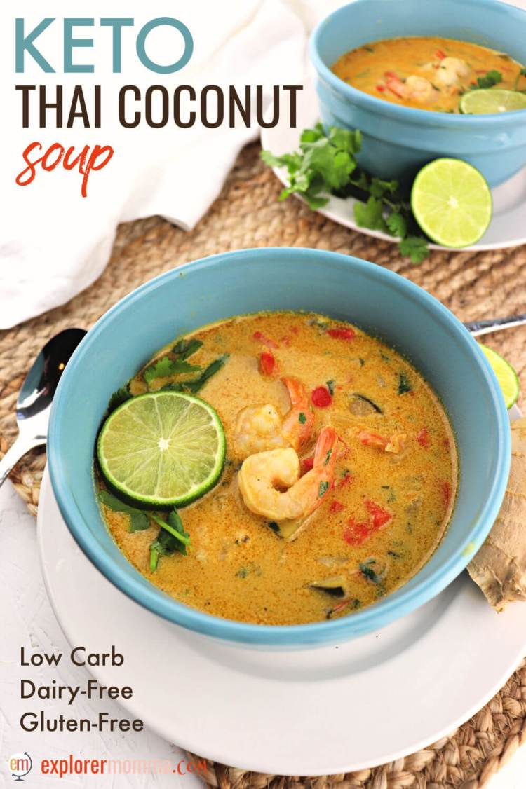 Keto low carb Thai coconut soup is a delicate blend of delicious flavors. This dairy-free, gluten-free, and delicious soup is perfectly refreshing for spring, lent, or any time! #ketosoup #lowcarbsoup