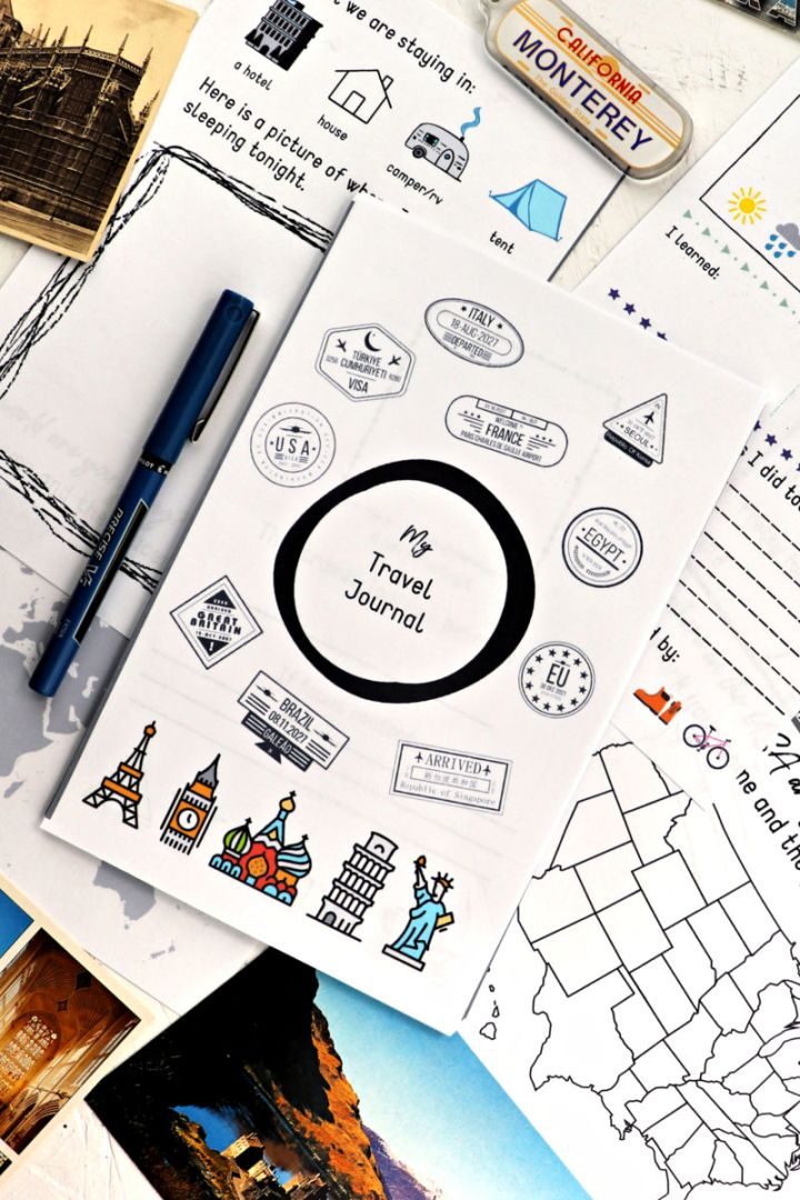 Record and reflect on family vacations with this printable kids travel journal. Fun and easy to take on the go, it's perfect for road trips, air travel, or any kids' outing! #kidstraveljournal #travelprintable