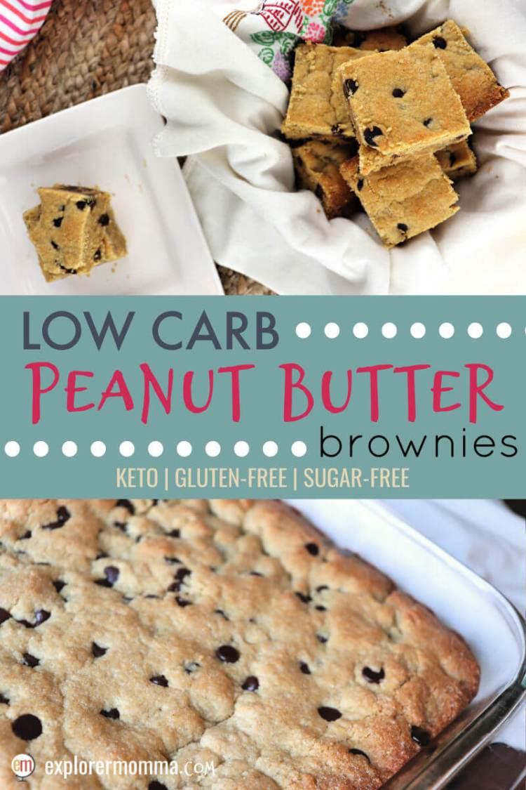 Beautiful low carb peanut butter brownies are easy gluten-free snacks or can be dressed up with keto ice cream for an easy delicious keto dessert. Sugar-free and perfect for picnics and parties. #lowcarbdessert #ketobrownies