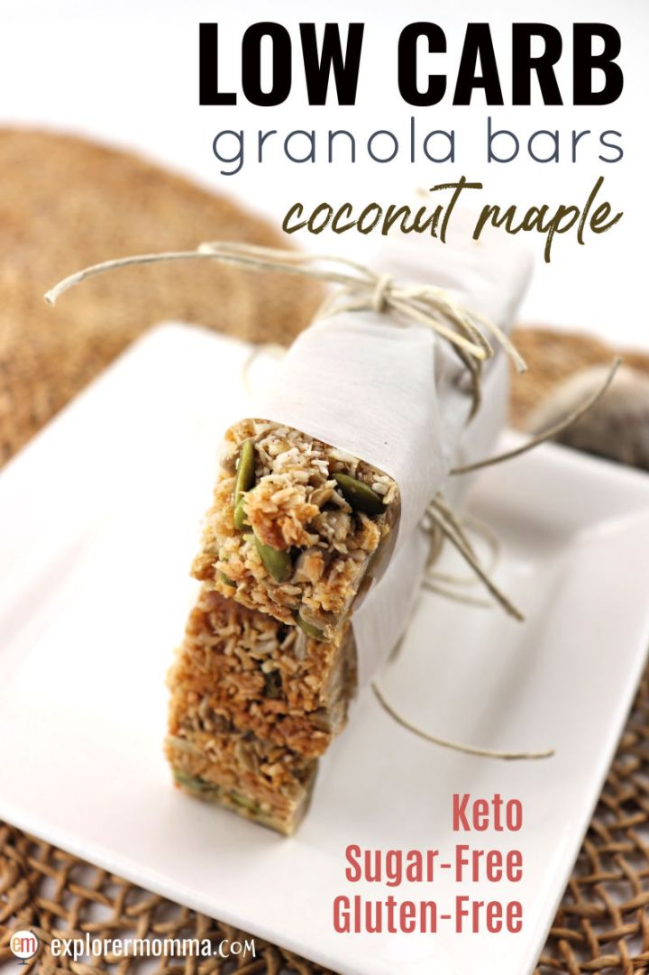 Easy and delicious low carb granola bars are a fabulous gluten-free on the go snack. Sugar-free and perfect for a keto diet, these little snacks are crunchy and full of flavor! #lowcarbrecipes #glutenfreerecipes