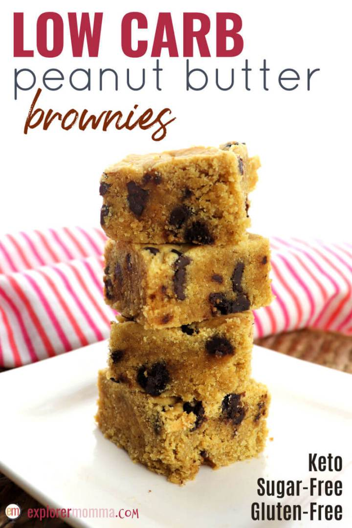 Low carb peanut butter brownies are a cheery gluten-free snack or dessert perfect for a keto diet. Sugar-free and easy. What could be better than chocolate and peanut butter for Mother's Day, a birthday, or everyday? #ketobrownies #lowcarbrecipes
