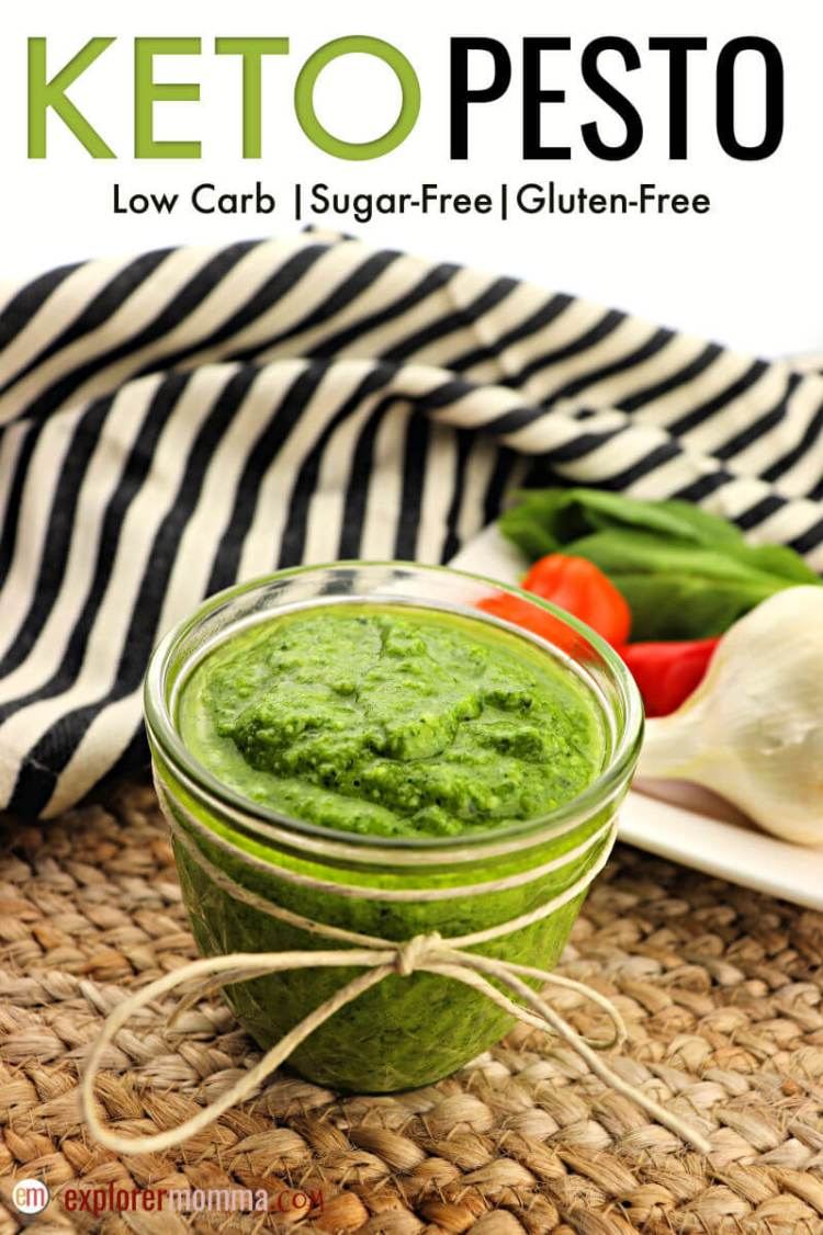 Simple and classic keto pesto is a delicious sauce for any low carb Italian dish. Gluten-free and packed with garlic and basil, every member of the family will love this fabulous dinner accompaniment. #lowcarbrecipes #ketopesto