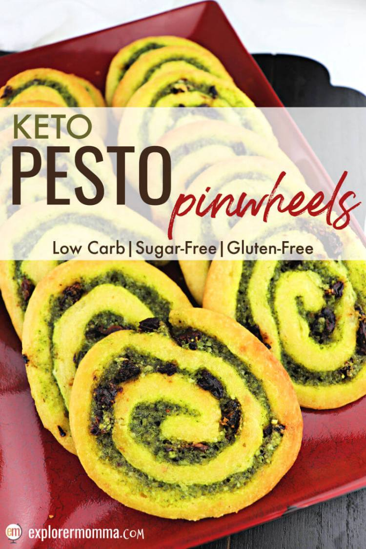 Delicious low carb keto pesto pinwheels are the perfect choice for a snack or appetizers at your next party or family holiday gathering. #ketoappetizer #ketosnacks