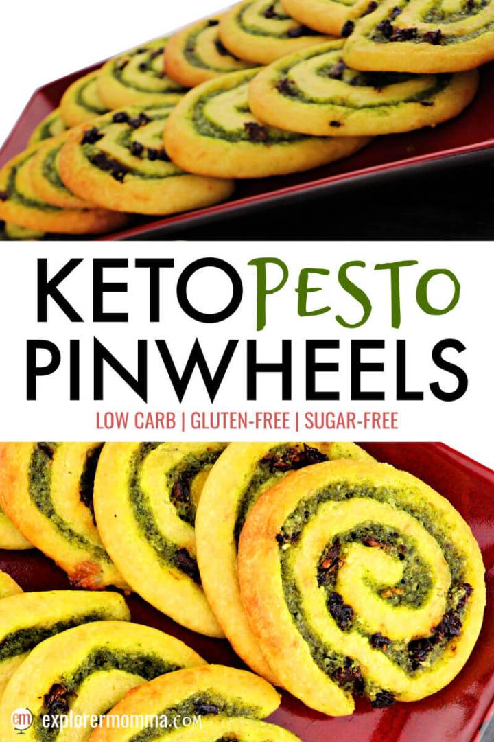 Flavorful keto pesto pinwheels are a delicious low carb appetizer or gluten-free snack to take to any party or event. You can't go wrong with a fathead dough, basil, garlic, parmesan, and sundried tomatoes! #ketoappetizer #ketorecipes