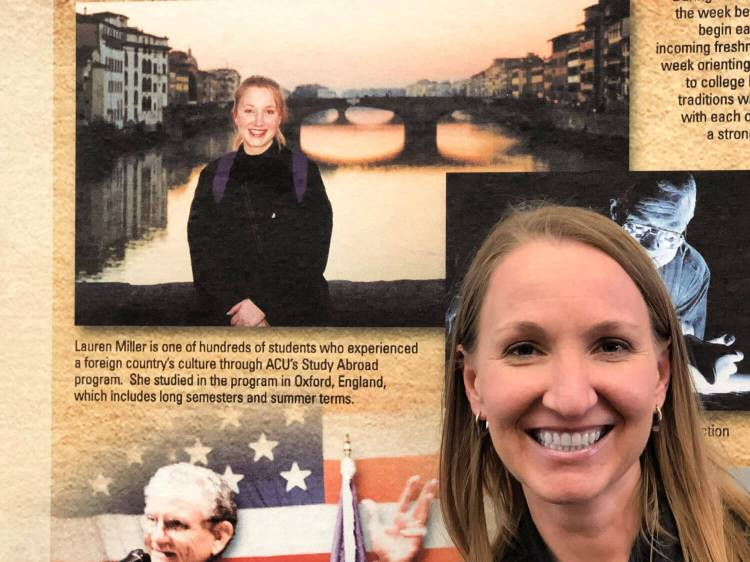 Lauren on the wall of the Hunter Welcome Center at ACU #acu #acustudyabroad