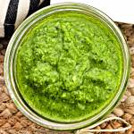 Overhead keto pesto in jar #ketopesto #ketorecipes
