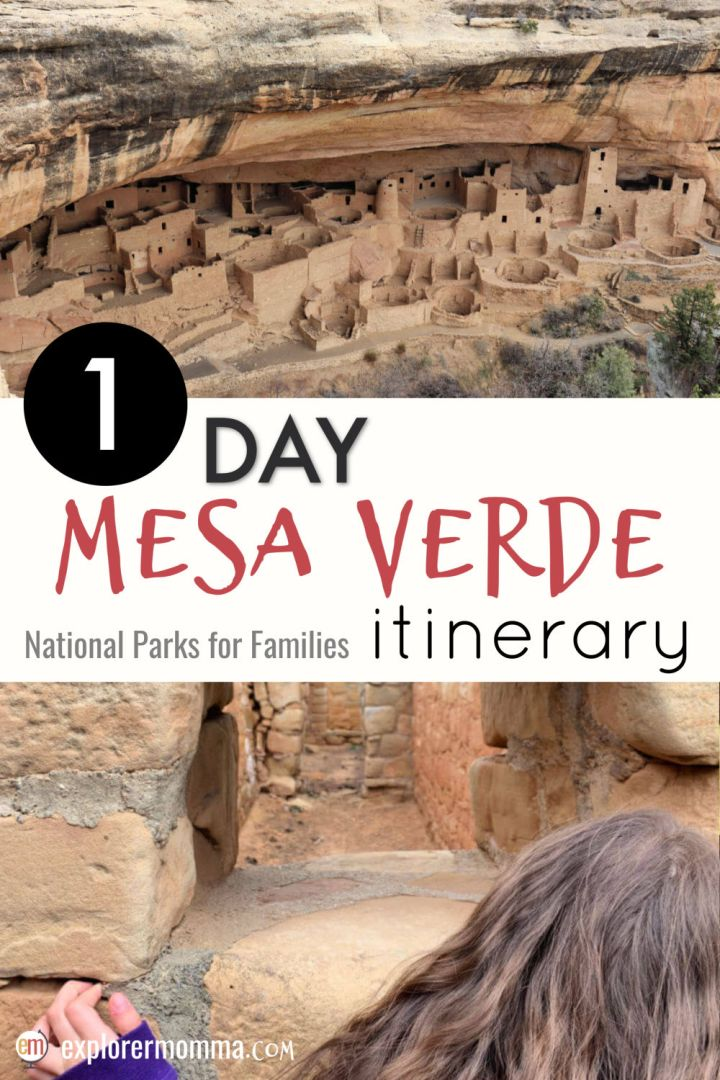 Visit the American cliff castles for yourself with a 1 day Mesa Verde map itinerary. Pressed for time? Follow the map and advice for a fun-filled educational day you won't want to miss. Family vacation or a day trip from Durango, Colorado. #familytravel #mesaverde
