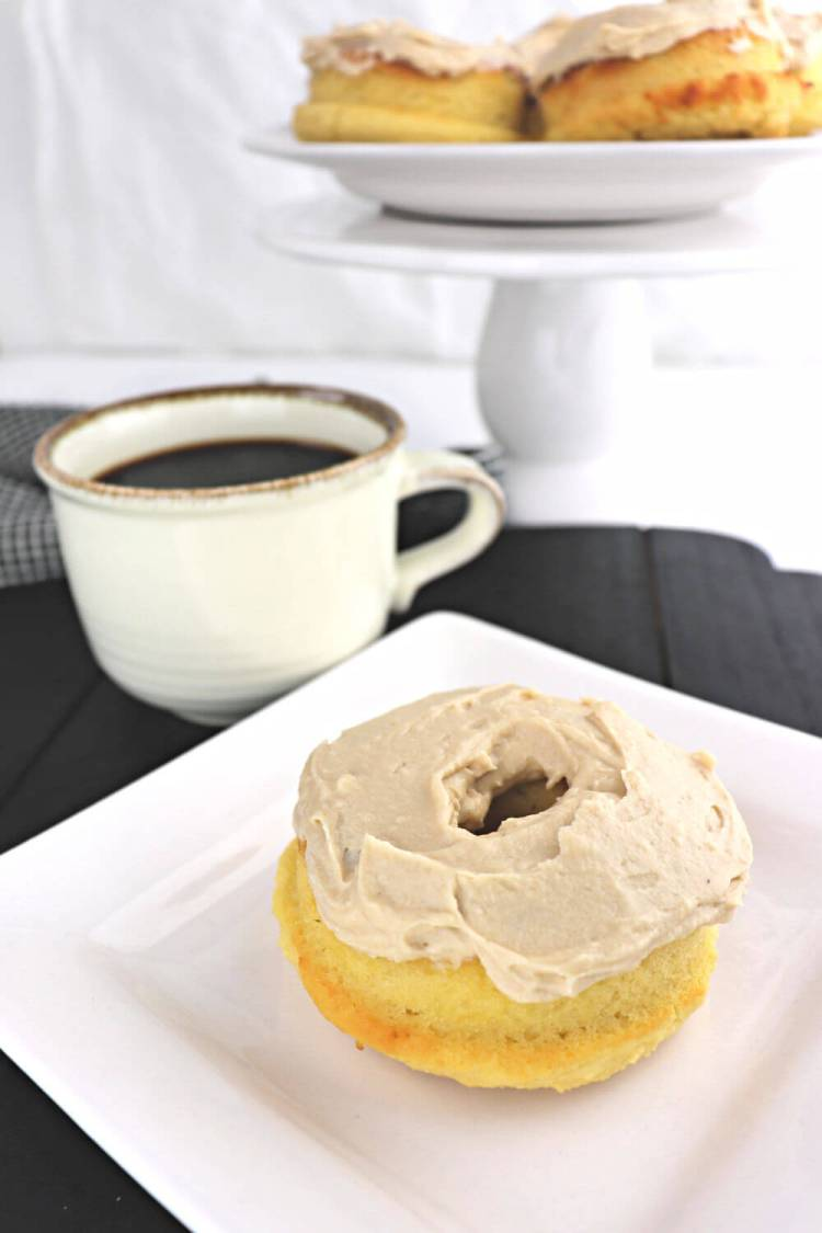 Keto Maple Donuts front with coffee #lowcarbrecipes #ketorecipes