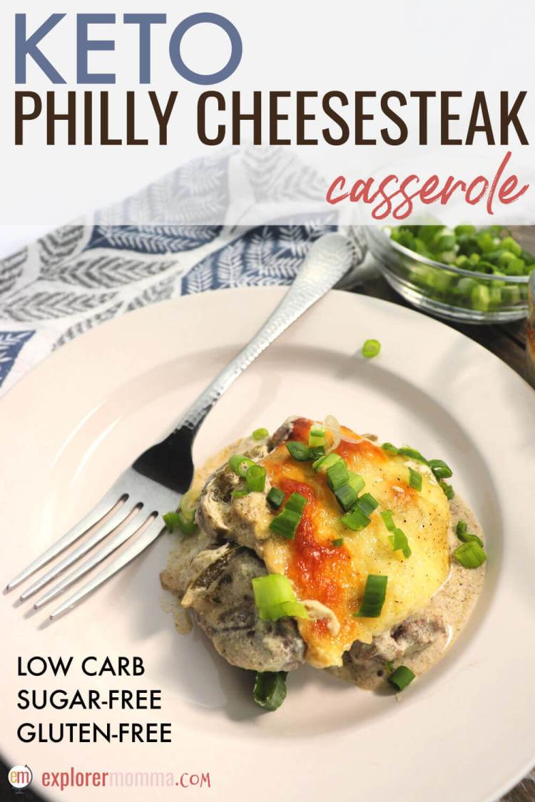 Delicious Keto Philly Cheesesteak Casserole is a great option to add to your meal prep list for a quick weeknight low carb family meal. Comforting flavors and great protein, your family will love this gluten-free dish. #ketodinner #ketorecipes