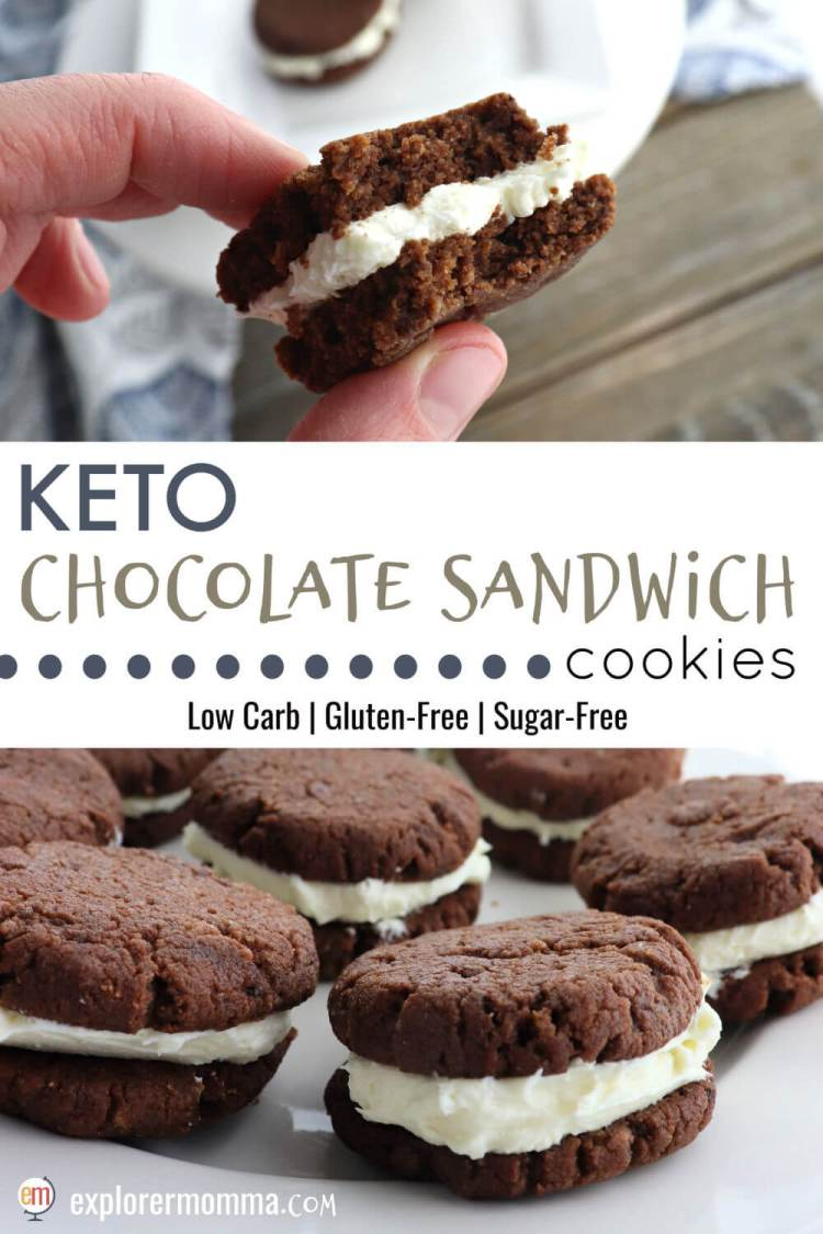 Soft Keto Chocolate Sandwich Cookies are the perfect cross between a keto oreo and a keto whoopie pie. A gluten-free, sugar-free snack or dessert the whole family will love keto diet or not. #ketocookies #lowcarbrecipes #ketorecipes
