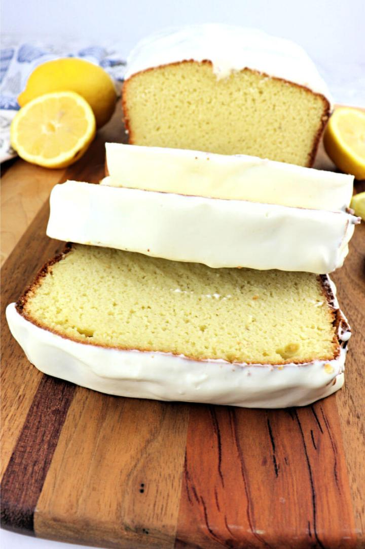A low carb lemon keto pound cake recipe, a deliciously tangy gluten-free breakfast treat.  #ketobreakfast #ketodesserts