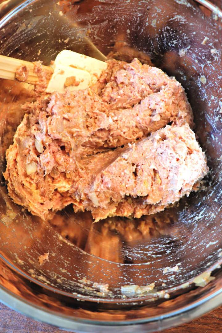 Keto turkey meatloaf mix in the bowl #lowcarbrecipes #lowcarbdinners
