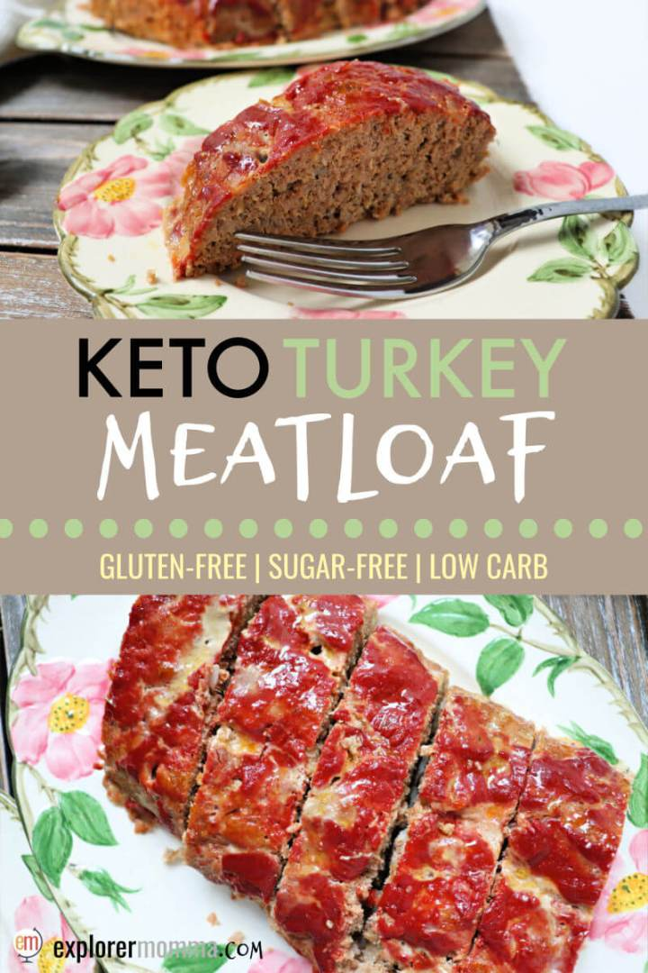 This is the best low carb turkey meatloaf I've tried. It's a super family-friendly recipe everyone will love, keto diet or not. Gluten-free, moist, and delicious, this will soon work it's way onto your low carb meal plan. #ketodinners #lowcarbrecipes