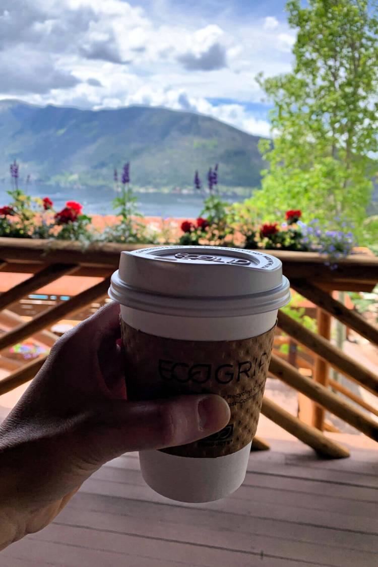 My free coffee and a view at Grand Lake Lodge #grandlakerestaurants #grandlakeco