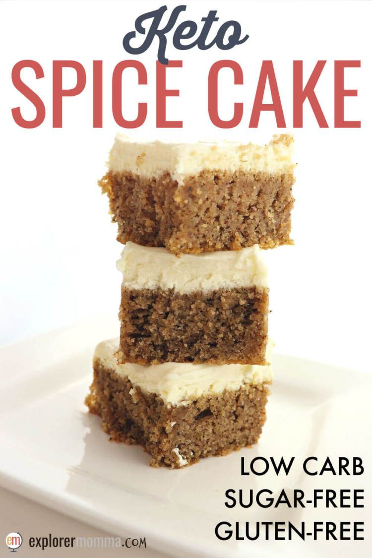 Fall spices flavor this best ever keto spice cake. Gluten-free, sugar-free with a deliciously dreamy cream cheese frosting, it may be the perfect cake for a keto diet. #ketodessertrecipes #ketodessert #lowcarbdessert