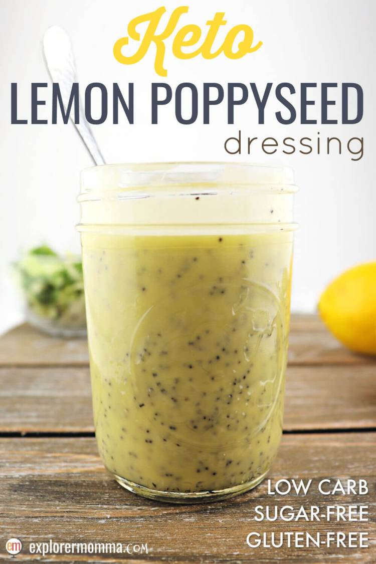Tart and tangy with a hint of sweet, sugar-free lemon poppyseed is the perfect keto salad dressing recipe for a low carb diet. #ketosaladdressing #ketodressing #sugarfreedressing